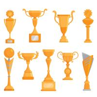 Vector flat golden goblet icon set in flat style. Winner award.  Golden trophy