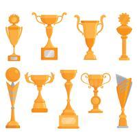 Vector flat golden goblet icon set in flat style. Winner award.  Golden trophy