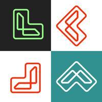 illustrazione di vettore del modello di logo del profilo della lettera L, elementi dell'icona