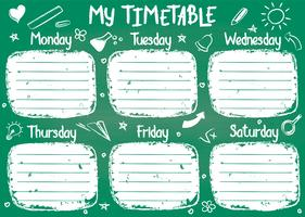 School timetable template on chalk board with hand written chalk text. Weekly lessons shedule in sketchy style decorated with hand drawn school doodles on green board.