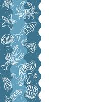Vertical repeating pattern with seafood products. Seafood seamless banner with underwater contour animals. Tile design for restaurant menu, fish food industry or market shop.