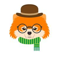 Portrait of pomeranian dog with glasses and hat in flat style. Vector illustration of Hipster dog for cards, t-shirt print, placard.