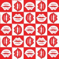 Modèle sans couture de vecteur avec les lèvres rouges et blanches.