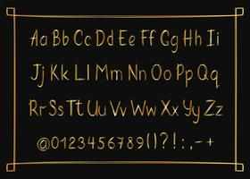 Golden alphabet in sketchy style with frame. Vector handwritten pencil letters, numbers and punctuation marks. Gold pen handwriting font.