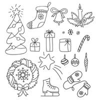 Christmas set of hand drawn doodles in simple style. Vector contour illustration