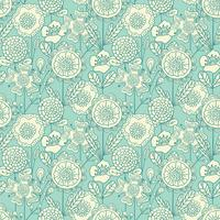Vector seamless colorful floral background. Hand drawn doodle flowers pattern for coloring book, textile design, wallpaper, scrapbooking.