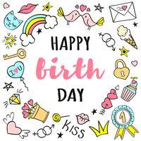 Letras de feliz aniversário com rabiscos femininos para cartão ou cartazes.