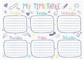 Molde do calendário da escola na folha do livro da cópia com texto escrito mão. Lições semanais shedule em estilo esboçado decorado com rabiscos de escola mão desenhada.