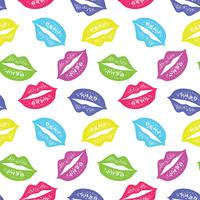 Vector seamless pattern with colorful lips. Repeating sketched lips background for wrapping paper, textile print, scrapbooking.