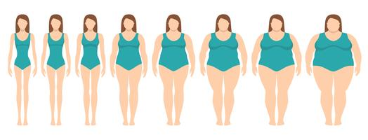 Vectorillustratie van vrouwen met verschillend gewicht van anorexie aan uiterst zwaarlijvig. Body mass index, gewichtsverlies concept.