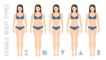 Set of female body shape types - triangle, pear, hourglass, apple, rounded, inverted triangle, rectangle. Woman figure types. Vector illustration.