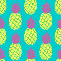 Pineapple seamless pattern in trendy colors. Summer colorful repeating background for textile design wallpaper, scrapbooking.