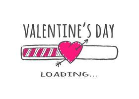 Barra de progreso con inscripción - carga del día de San Valentín y forma de corazón con flecha en estilo incompleto. Ilustración del vector para el diseño de la camiseta, cartel o tarjeta de San Valentín.
