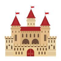 Vectorillustratie van een kasteel in vlakke stijl. Middeleeuws stenen fort. Abstract