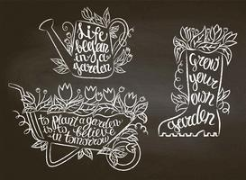 Collection of chalk contour gardening placards with inspirational quotes on blackboard. Gardening typography posters set.