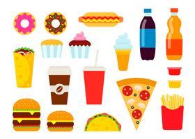 Comida rápida de colores en estilo plano. Colección de iconos de vector de comida chatarra. Ilustración de alimentación poco saludable.