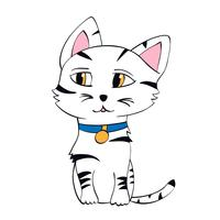 Cute kitten vector illustration. Contour cat in childish style for t-shirt print, cards, posters.