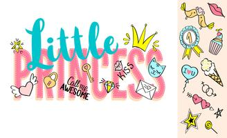 Little Princess lettering with girly doodles and hand drawn phrases for card design, girl's t-shirt print, posters. Hand drawn slogan.