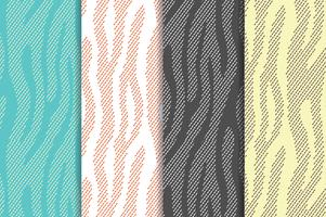 Seamless vector patterns set with zebra, tiger stripes. Textile repeating animal fur backgrounds. Halftone stripes endless backgrounds. Abstract animal prints.