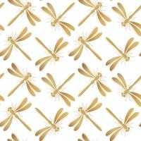 Golden dragonfly vector seamless pattern for textile design, wallpaper, wrapping paper or scrapbooking.