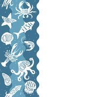 Motivo ripetitivo verticale con prodotti ittici. Insegna senza cuciture dei frutti di mare con gli animali subacquei. Progettazione di piastrelle per menu di ristoranti, industrie ittiche o market shop.