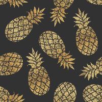 Golden pineapples seamless vector pattern on black background.