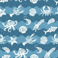 Vector pattern ripetuto con prodotti ittici. Seafood backgruond senza cuciture con animali sott'acqua. Design di piastrelle per ristorante, industria ittica o market shop, stampe tessili