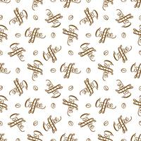 Vector seamless pattern with handrawn lettering Coffee and coffee beans. Repeating background for wrapping paper, scrapbooking, textile design.