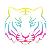 Tiger icon isolated on a white background. Tiger logo template, tattoo design, t-shirt print.