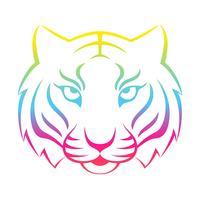 Icono de tigre aislado en un fondo blanco. Plantilla de logo de tigre, diseño de tatuaje, estampado de camiseta.