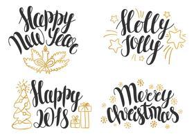 Kerst belettering collectie. Hand getrokken zinnen voor Kerstmis en Nieuwjaar uitnodigingen en wenskaarten.