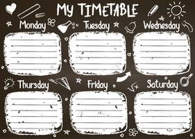 Molde do calendário da escola na placa de giz com texto escrito mão do giz. Lições semanais shedule em estilo esboçado decorado com mão desenhada escola doodles em blackbord.