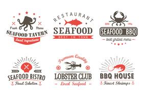 Set of vintage seafood, barbecue, grill logo templates, badges and design elements. Logotypes collection for seafood shop, cafe, restaurant. Vector illustration. Hipster and retro style.