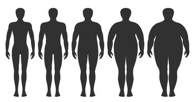 Ilustración vectorial de índice de masa corporal desde bajo peso hasta extremadamente obeso. Siluetas de hombres con diferentes grados de obesidad. Cuerpo masculino con diferente peso.