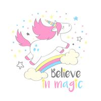 Magic cute unicorn in cartoon style with hand lettering Believe in magic. Doodle unicorn flying above a rainbow and clouds vector illustration for cards, posters,kids t-shirt prints, textile design.
