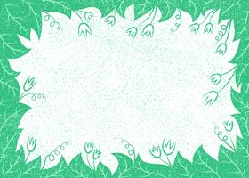 Vector illustration with leaves and flowers frame for greeting cards, placards,