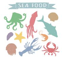 Seafood hand drawn colorful vector illustrations isolated on white background, elements for restaurant menu design, decor, label. Vintage silhouettes of sea animals.