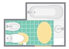 Badrum inredning topp utsikt vektor illustration. Golvplan av toaletten. Platt design.