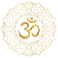 Aum Om Ohm symbol in decorative round mandala ornament. vector