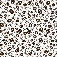 Vector seamless pattern with handrawn coffee beans. Repeating coffee beans background for wrapping paper, package, scrapbooking, textile design.