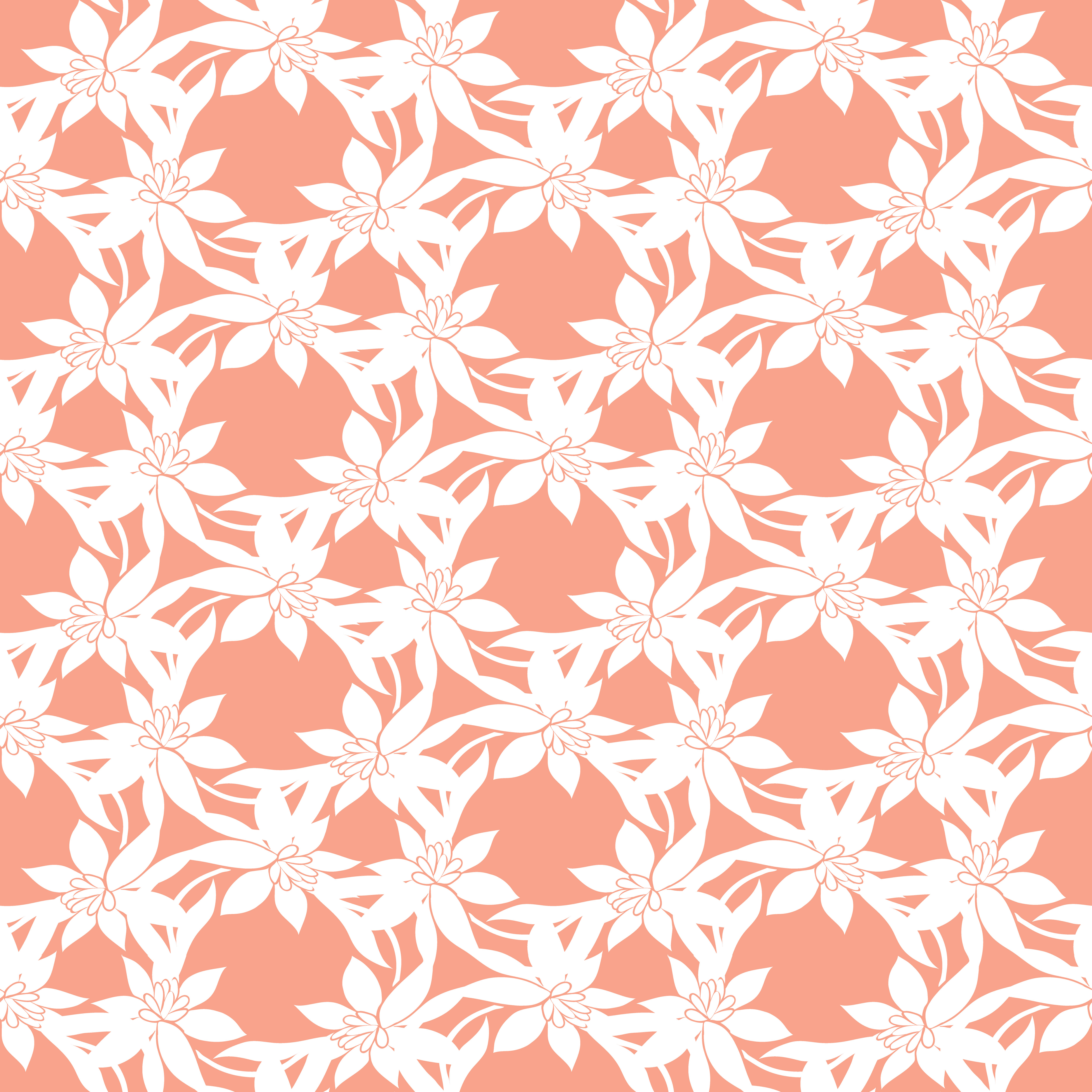 Colorful Floral Pattern Vector Wallpaper With Big Illustration