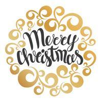 Carte de voeux joyeux Noël. Illustration vectorielle Joyeux Noël lettrage en ornement de courbes rondes. Inscription dessinée à la main, dessin calligraphique.