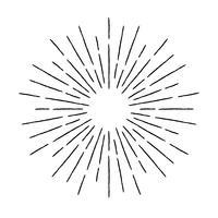 Ilustração de raios texturizados vintage. Elemento de design linear sunburst em estilo retro.