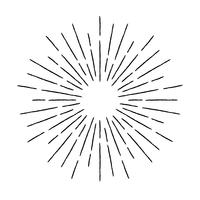 Vintage textured rays illustration. Linear sunburst design element in retro style.
