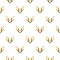 Seamless vector pattern with chihuahua. Dog head flat icon repeating background for textile design, wrapping paper, wallpaper or scrapbooking.