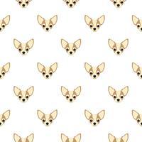 Naadloos vectorpatroon met chihuahua. Hond hoofd platte pictogram herhalende achtergrond voor textielontwerp, inpakpapier, behang of scrapbooking.