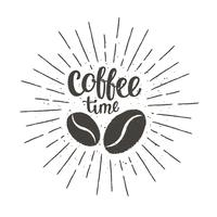 Monochrome vintage coffee time lettering with silhouette of coffee beans and sun rays. Vector illustration for drink and beverage menu or cafe theme, poster, t-shirt print.