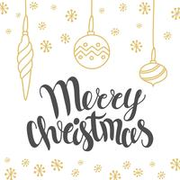 Christmas card design with lettering Merry Christmas and hand drawn illustrations. Vector holiday template. Holiday calligraphy - Christmas design element.