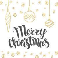 Kerstkaartontwerp met van letters voorziende Vrolijke Kerstmis en hand getrokken illustraties. Vector vakantie sjabloon. Vakantiekalligrafie - Kerstmisontwerpelement.