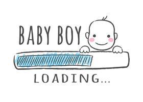 Voortgangsbalk met inscriptie - Babyjongen wordt geladen en het gezicht van het kind in schetsmatige stijl. Vector illustratie voor t-shirt design, poster, kaart, baby shower decoratie